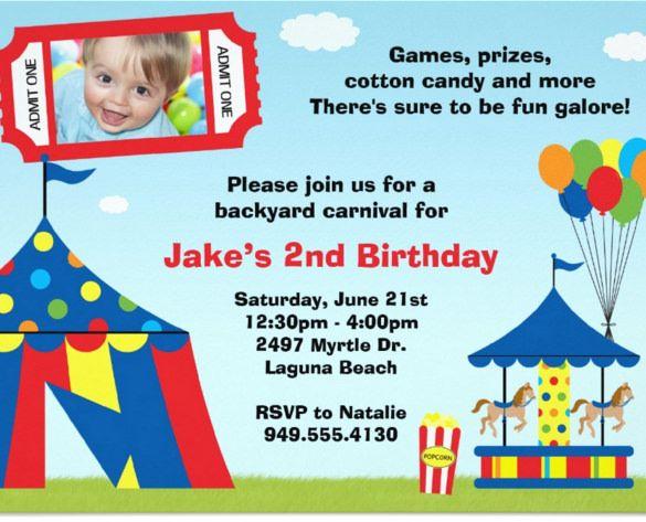 Carnival Birthday Invitations Free PSD Vector EPS AI Format - Party invitation template: carnival theme party invitations templates
