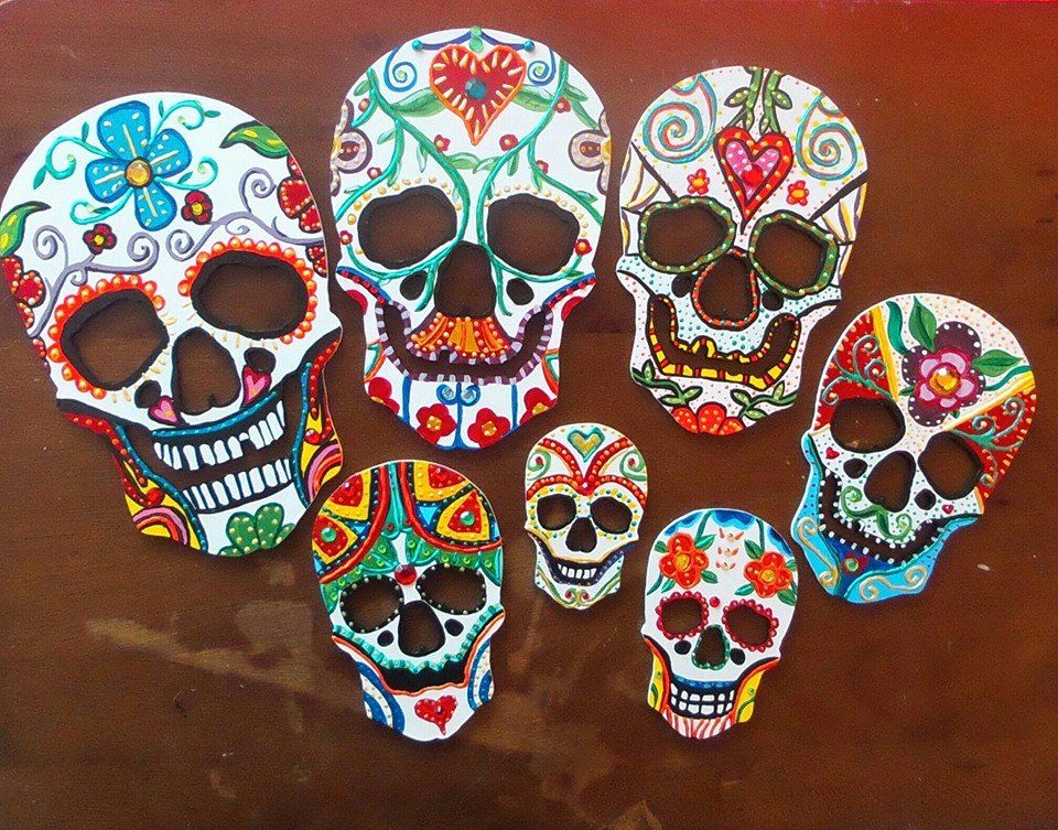 Day Of The Dead Inspired Wooden Hanging Skull Decoration Completely