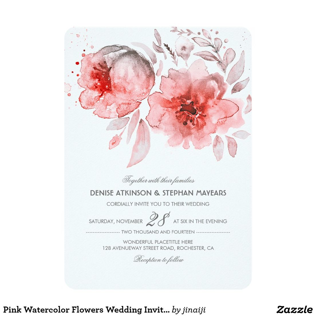Pink watercolor flowers wedding invitation crafts pinterest craft