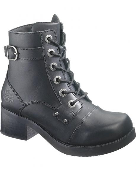 Harley Davidson Boots are for fashionable lady riders The Evie boot  features a smooth black leather foot under a lace-up leather shaft. de62d6376b