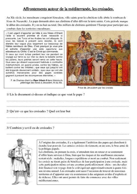 Affrontements En Mediterranee Les Croisades Exercices Moyen Age Cm1 Cycle 3 Croisade Cm1 Moyen Age