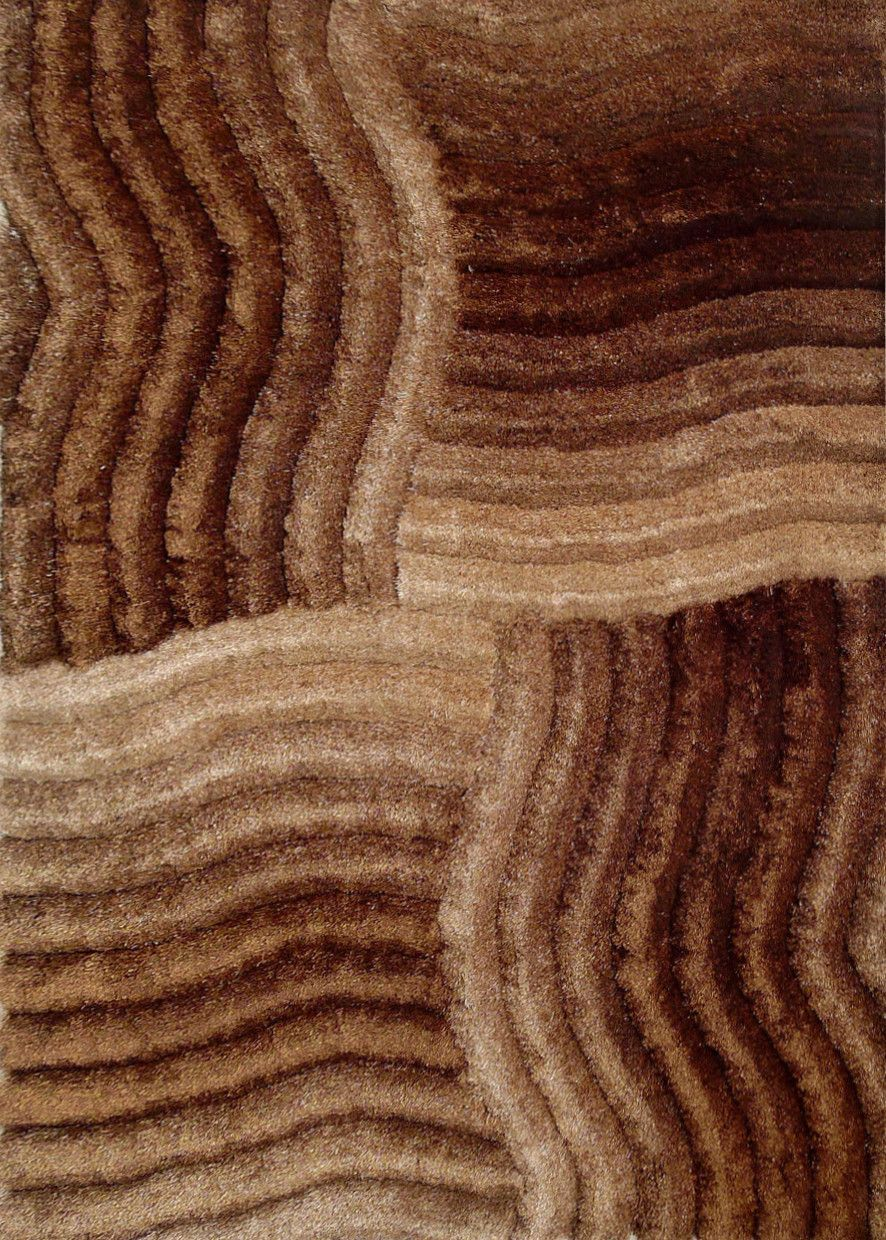 Brown Shag Area Rugs piece set | hand-tufted gold brown 3 dimensional shag area rug