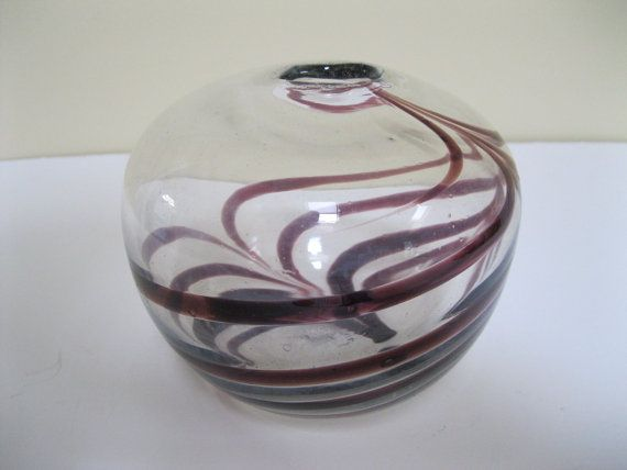 Richard Harkness Purpleamethyst Swirl Glass Vase Hand Blown Epsom