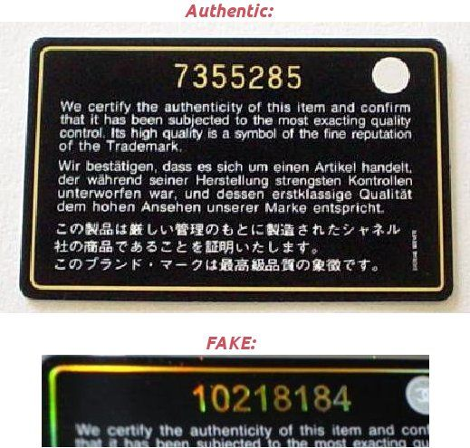 f3e3b70b90a2 Chanel fake real authentication card