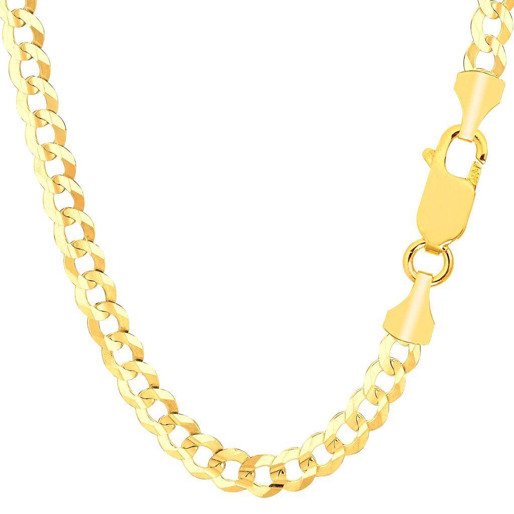 K yellow gold comfort curb chain bracelet width mm length
