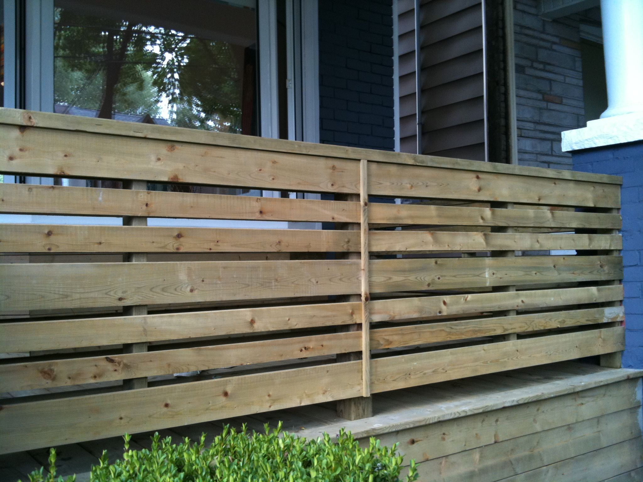 Horizontal porch railing for the home pinterest for Timber decking spacers