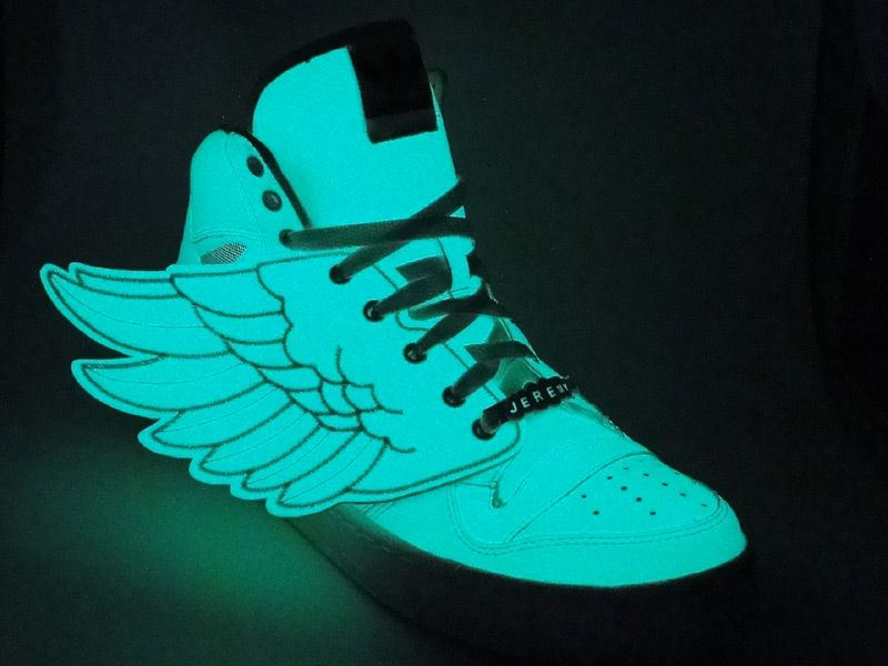 big sale e0364 6e76c Jeremy Scott for Adidas Glow In the Dark Winged Sneakers