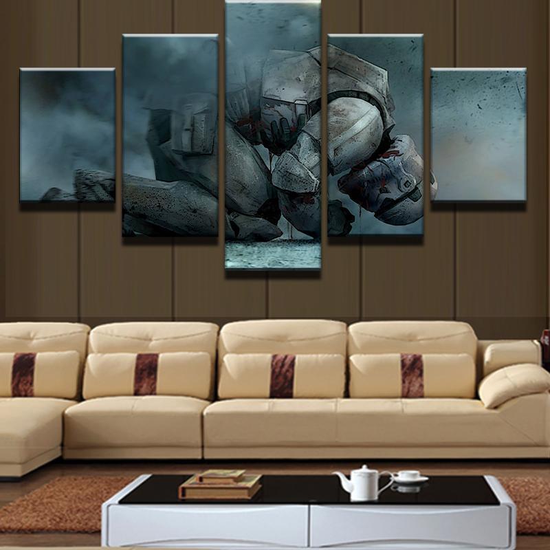 Star Wars Kneeling Stormtropper 5 Piece Canvas Painting Living Room Canvas Prints Canvas Art Wall Decor Living Room Canvas
