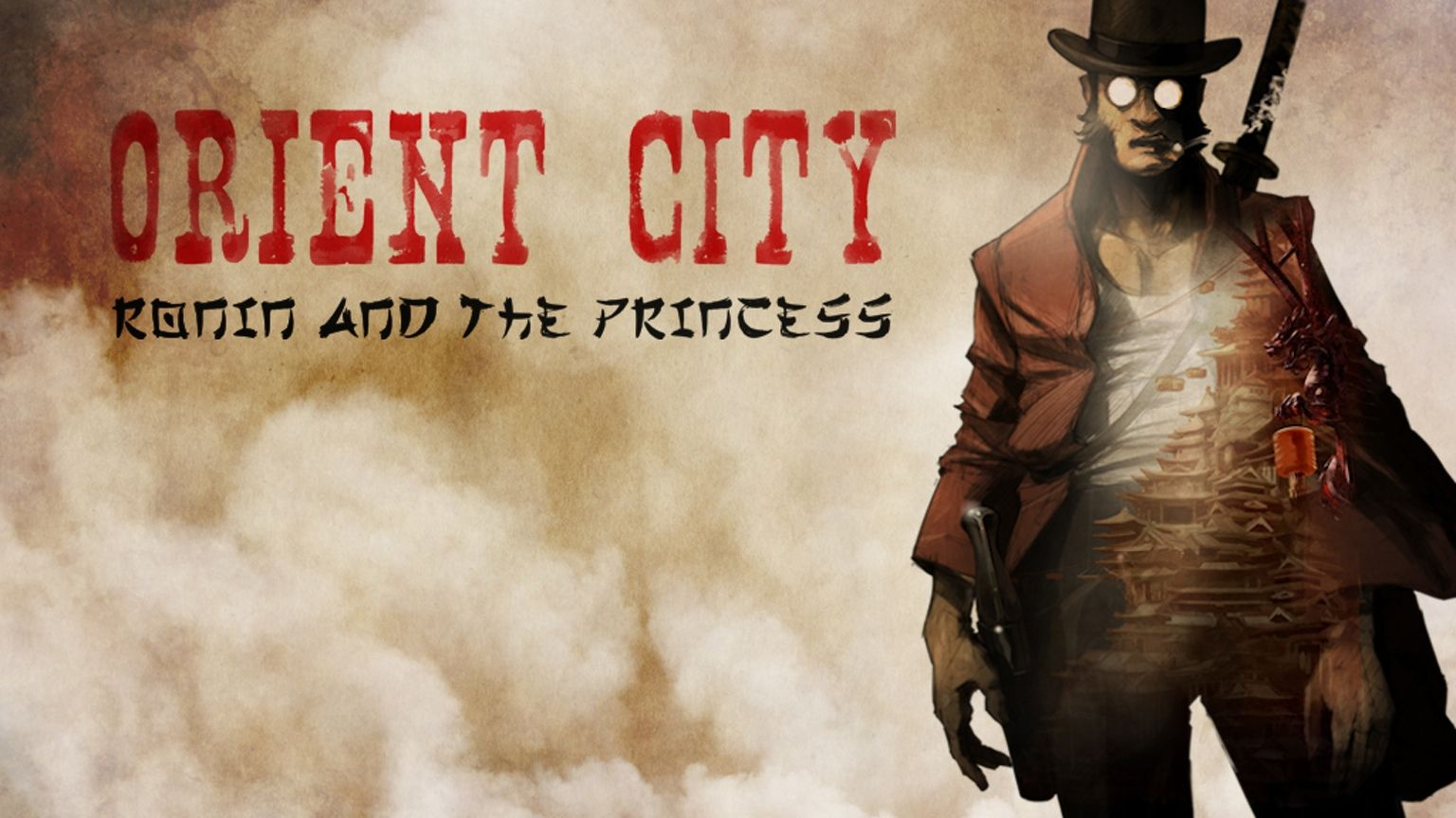 A hand-drawn samurai spaghetti western set in Orient City, an unforgiving vertical tangle of rocks and skyscrapers.