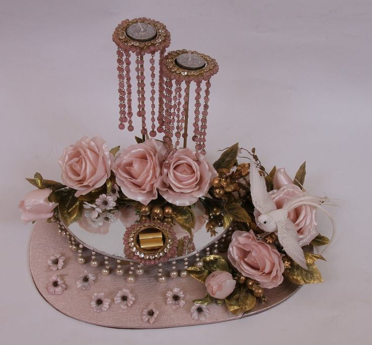 Indian Wedding Gifts: Pink And Gold Themed Ring Platter