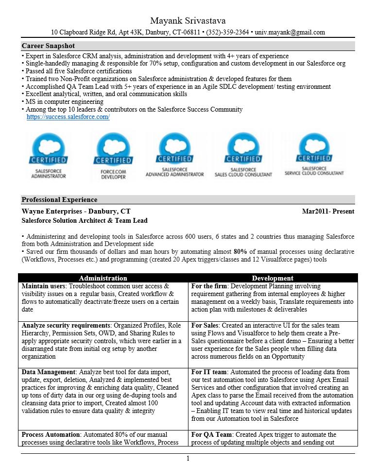 Pin by Nina Antuna on Admin Resume, Salesforce, Resume