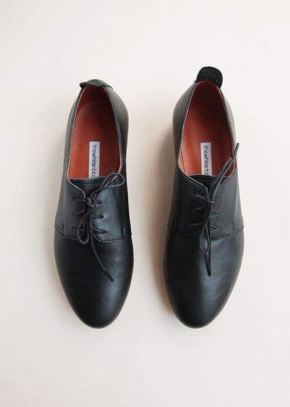 b959f1ab59d Black Leather Saddle Shoes