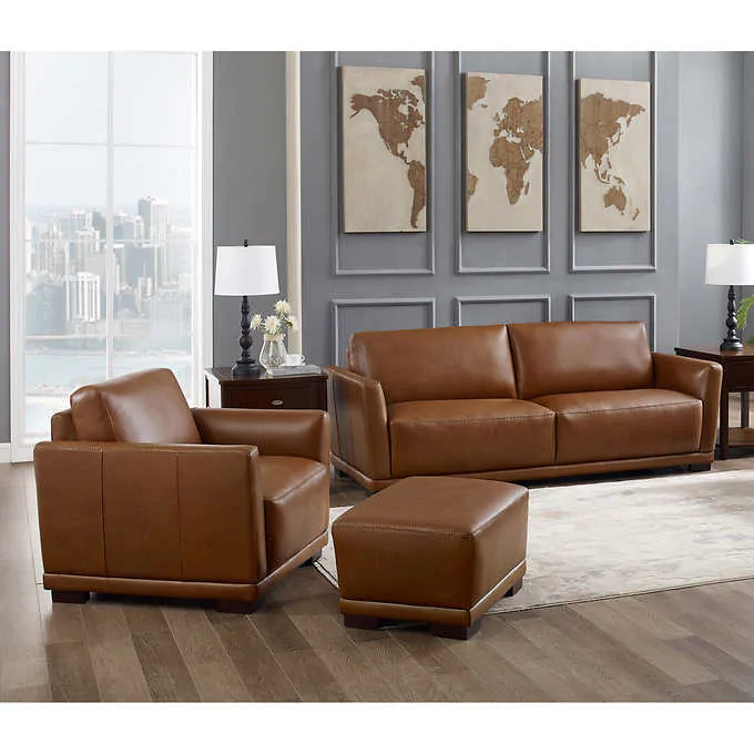 Colby 3 Piece Leather Sofa Chair And Ottoman Set In 2020 Chair And Ottoman Set Chair And Ottoman Ottoman Set