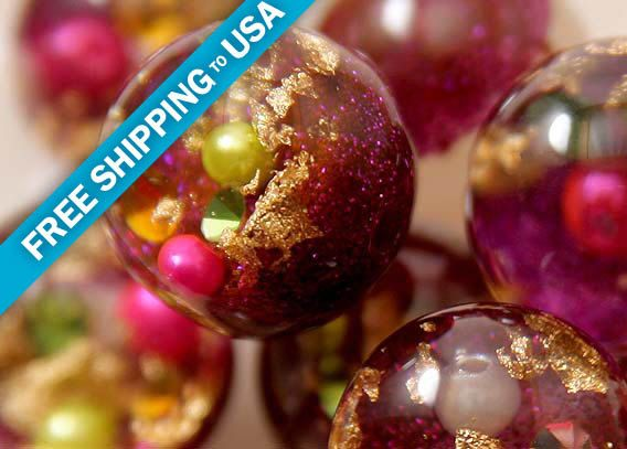 25mm Dark Fuchsia Pink Crystal Ball Resin Beads - 5 pc set by delishbeads on Etsy