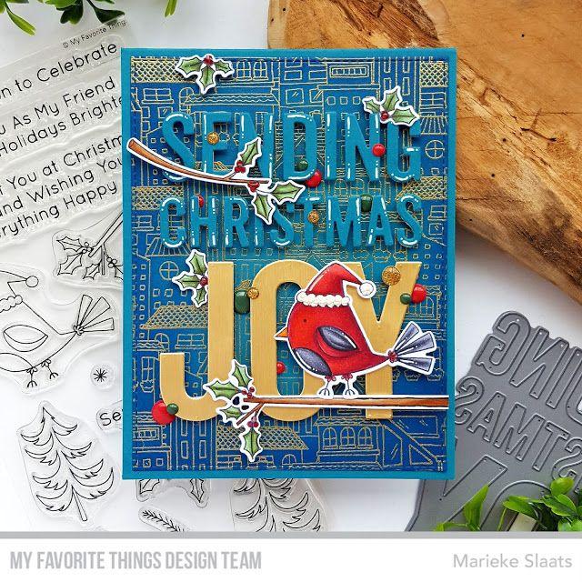 Stamps: Christmas Cardinals, City Block Background Die-namics: Christmas Cardinals, Sending ...