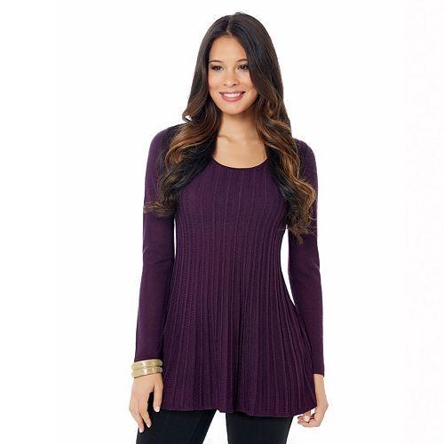 daisy fuentes® Ribbed Babydoll Sweater - Women's