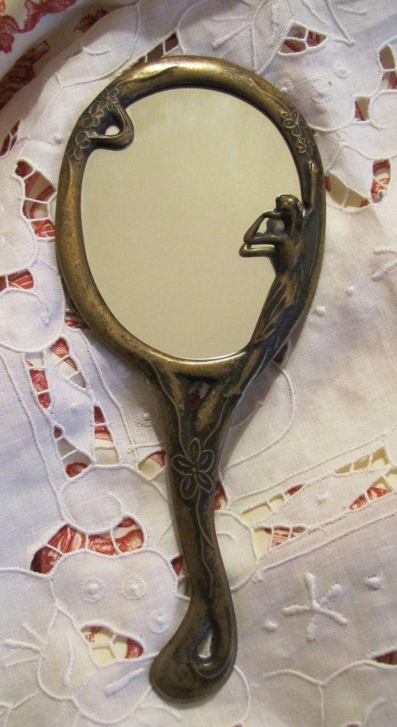 Art Deco Style Vintage Mirror Antiqued Brass by VintagenutsInc, $18.00