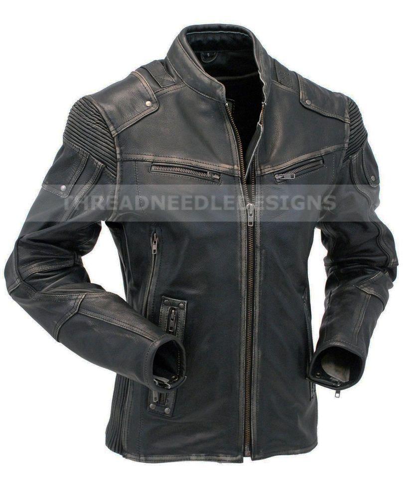 Mens Vintage Biker Style Motorcycle Cafe Racer Distressed Leather Jacket Distressed Leather Jacket Cafe Racer Leather Jacket Leather Jacket Men