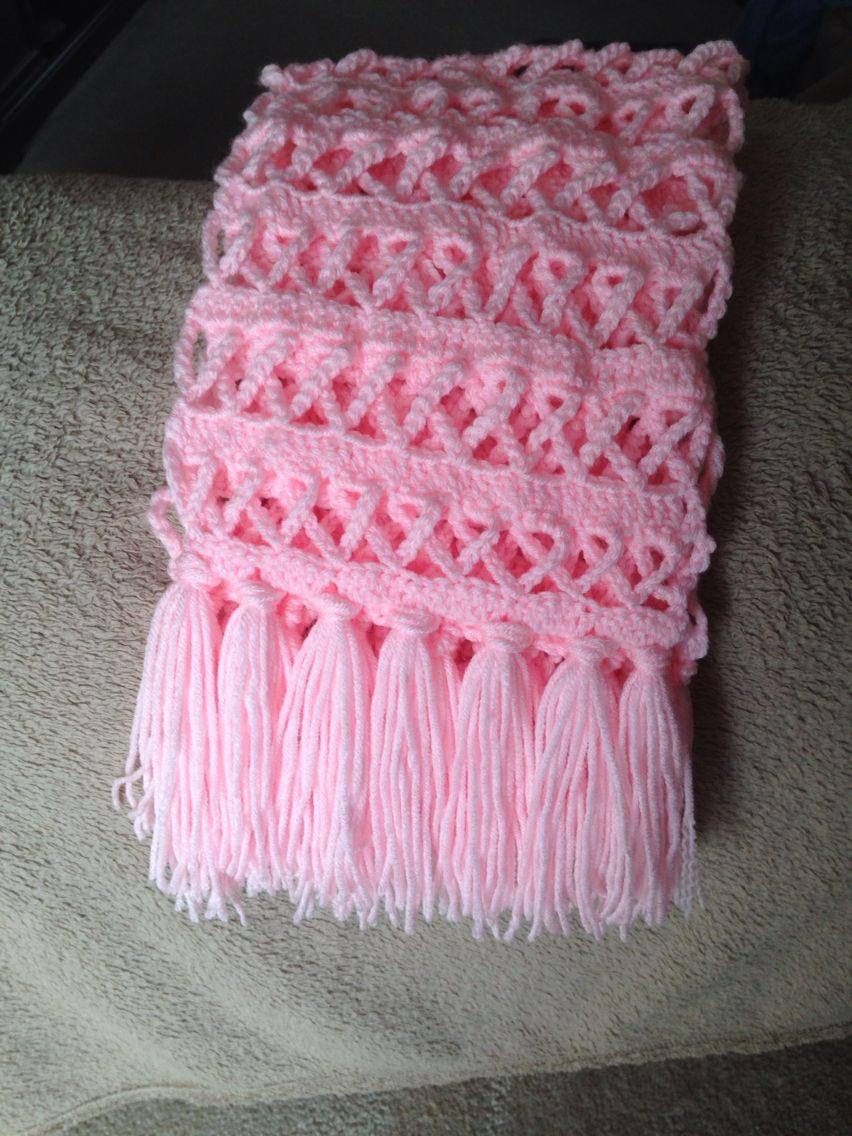 Crochet Breast Cancer Ribbon Scarf