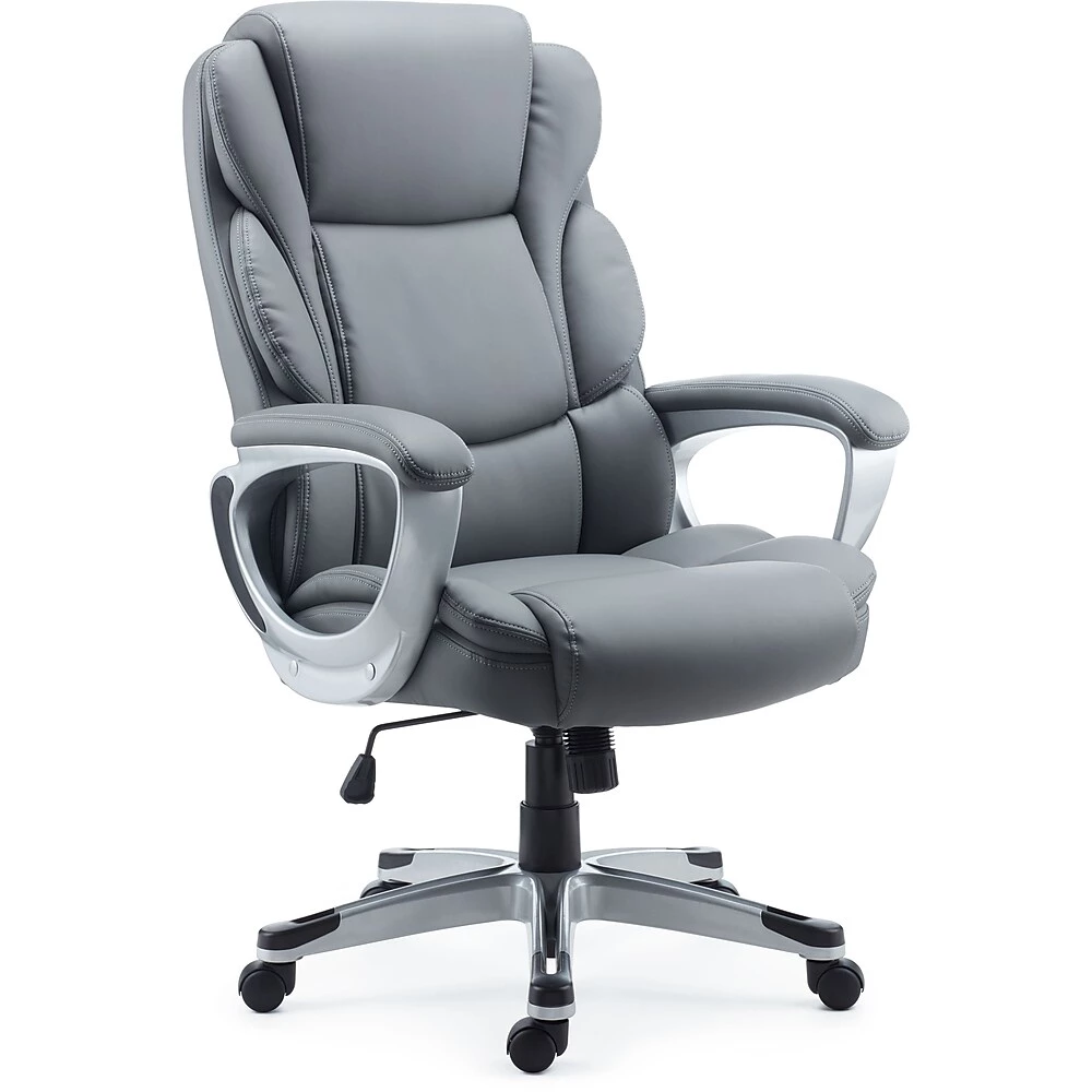 Mcallum Bonded Leather Managers Chair, Grey Bonded