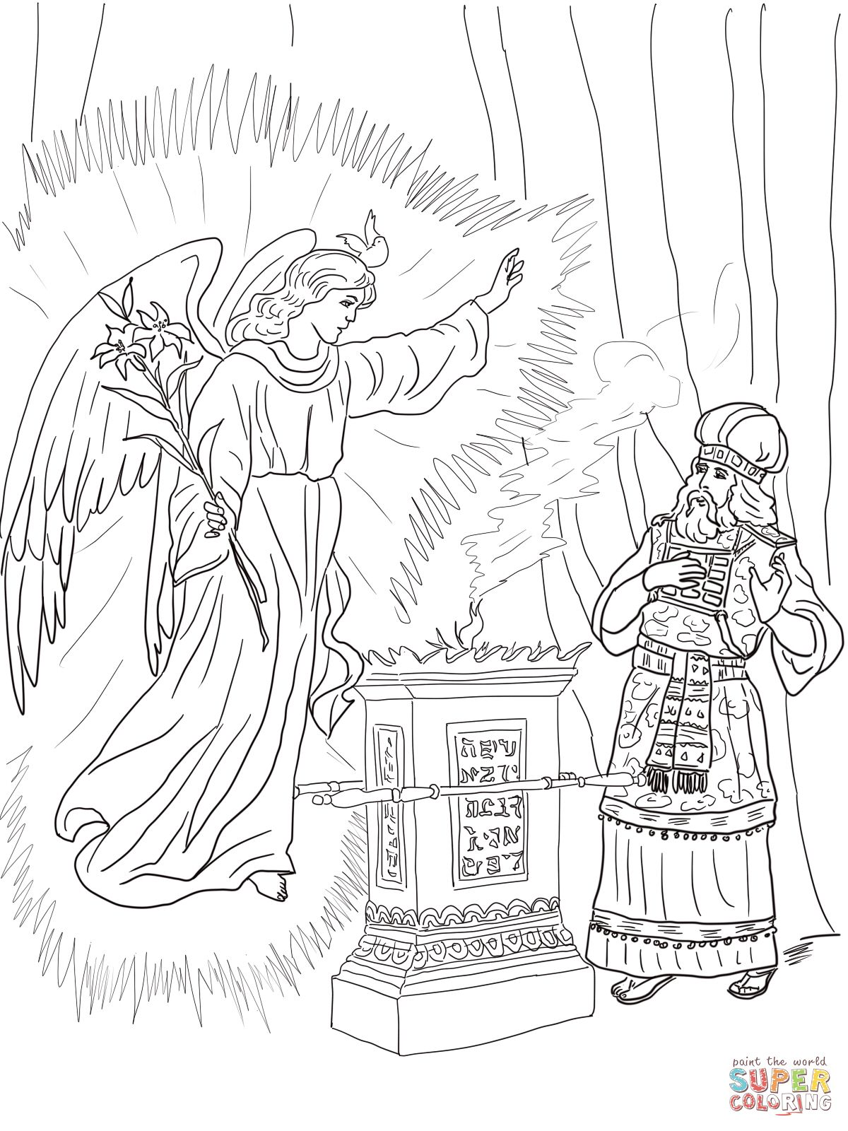 2 Angel Visits Zechariah Coloring Page 1 200 1 600