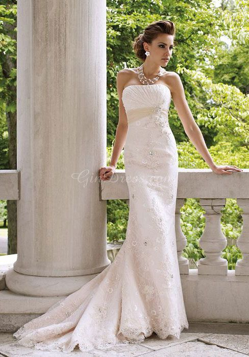 lace sheath/column strapless with beads and pleats chapel train wedding dress - Gindress.com