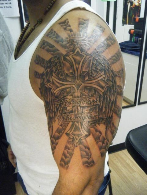 Religious Half Sleeve Forearm Tattoos