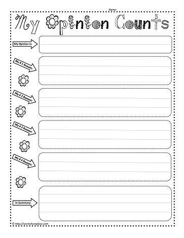 My Opinion Worksheet | Writing ideas | Pinterest