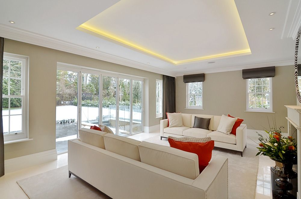 Coved lighting reception room by halo design interiors