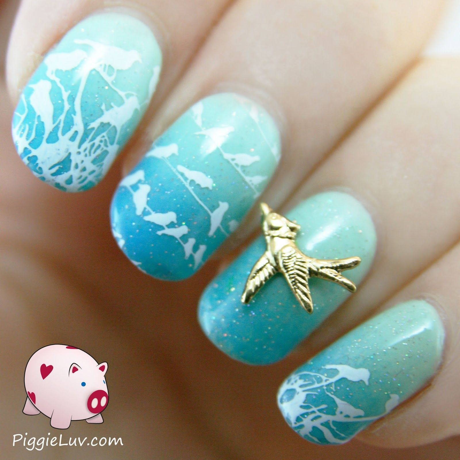 Gradient with stamped birds and nail charm | Nail supply, Green ...