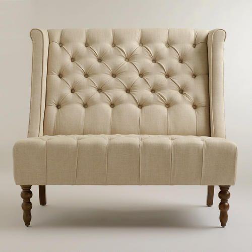 Dining Room Loveseat: Linen High Back Settee
