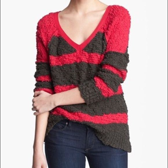 "Free People Songbird Pullover Free People rugby striped magenta and dark olive Songbird v-neck pullover sweater. Slub knit and great for those chilly nights! 22"" pit to pit; 26.5"" sleeve; 28"" length. 97% cotton, 3% other fibers. NO TRADES. Final markdown. Free People Sweaters"