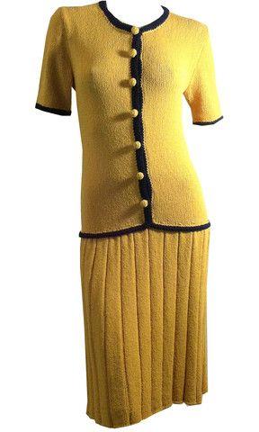 Vintage 1930/'s Blue and Yellow Silk Drop Waist Dress