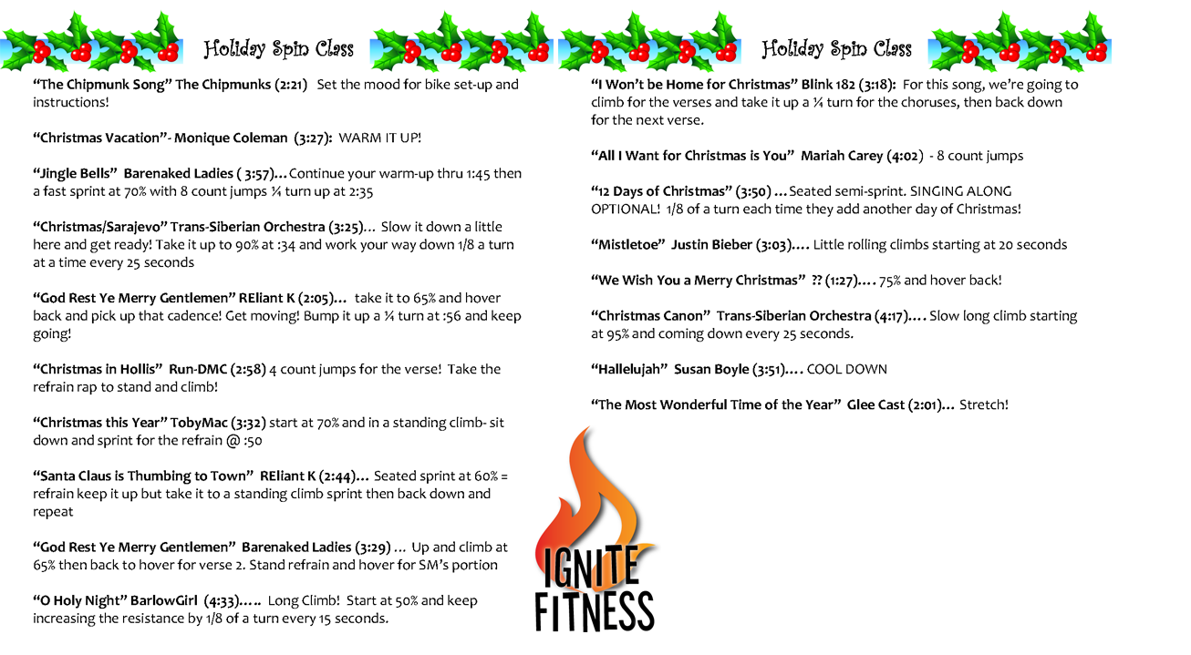 Christmas Spin Playlist The Most Wonderful Time Of The Year Christmas Spin Spinplaylist Holiday Spin Playlist Spin Routines Spin Cycle Workout