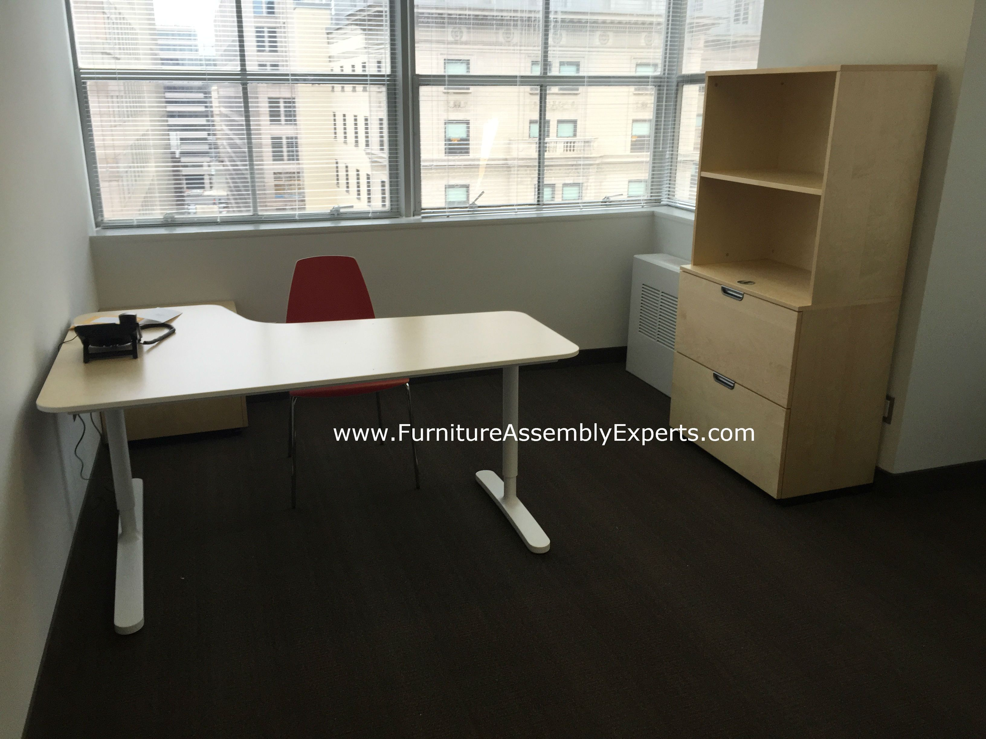 Ikea Bekant Office Desk, Galant File Cabinet And Storage Assembled For A  Company New Office Nice Look