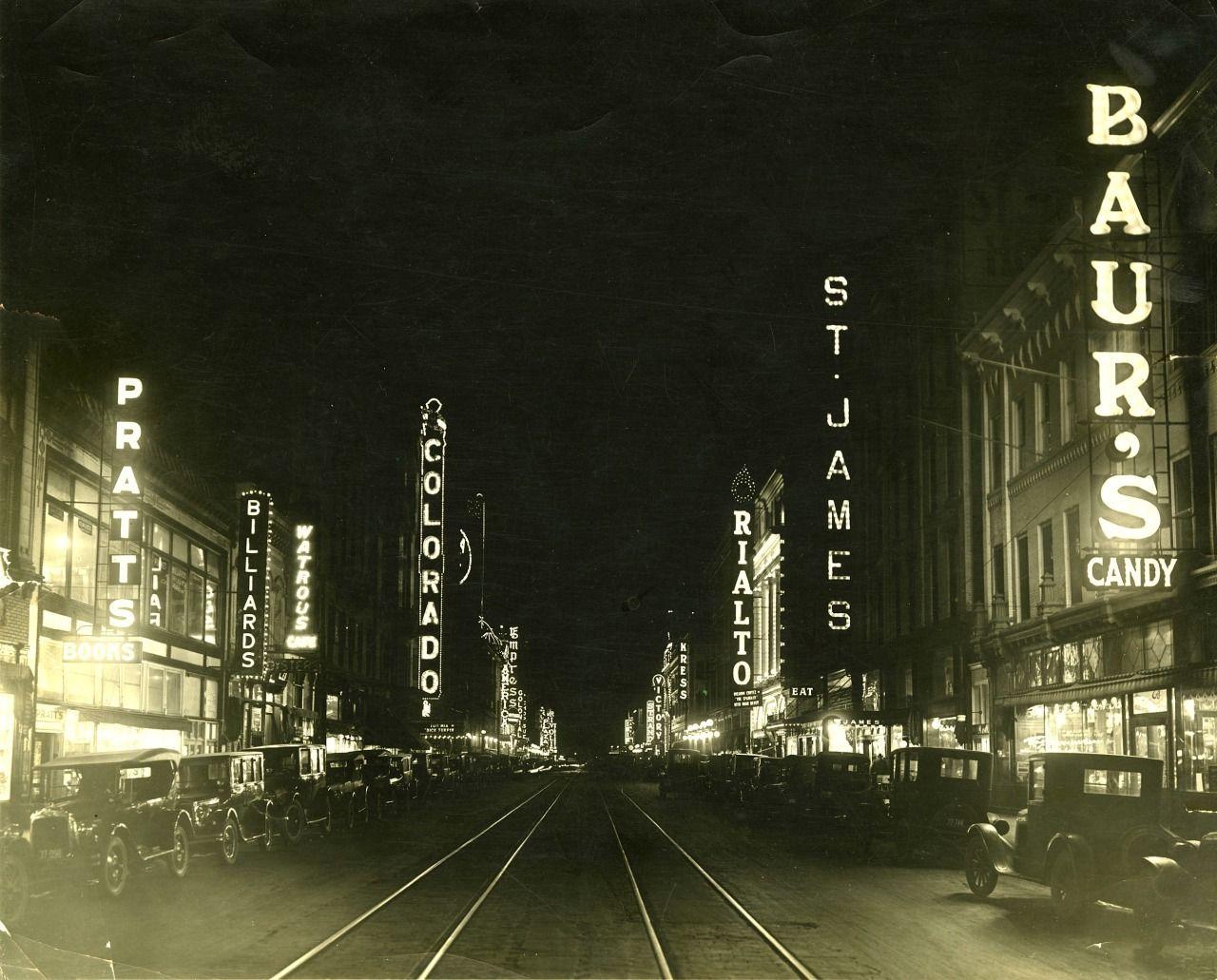 Curtis Street Theatre Row Denver Colorado c 1926