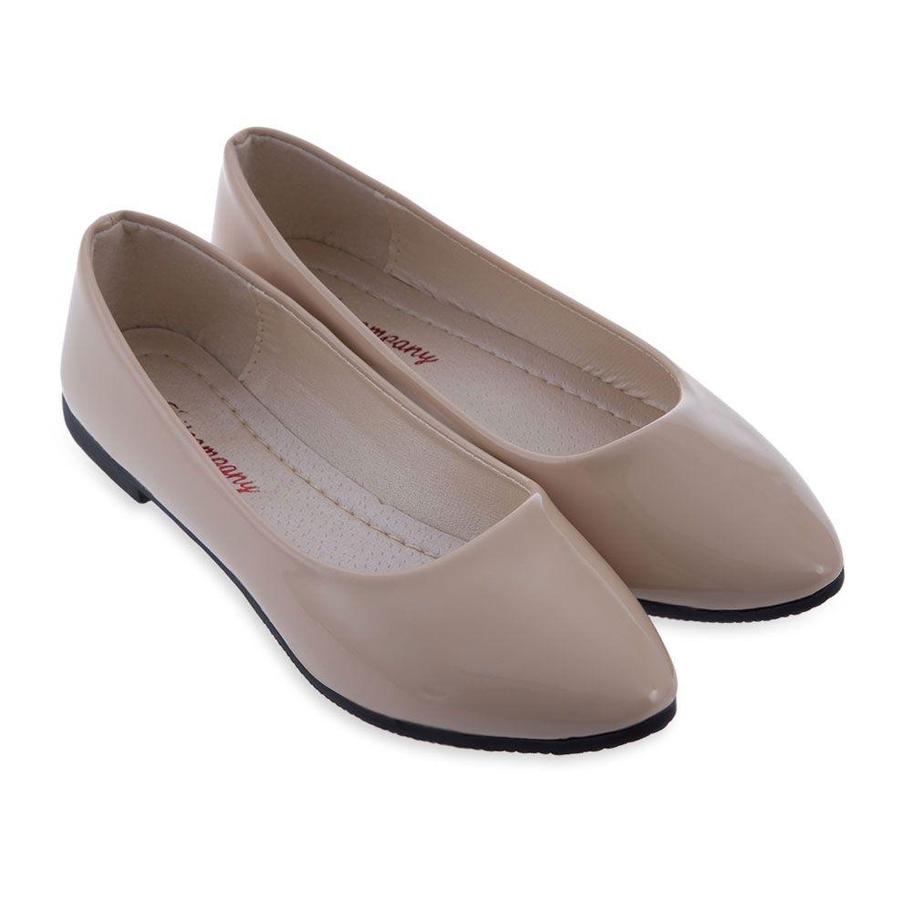 Beleza Wiosna Jesien Na Co Dzien Panie Mieszkania Cukierki Staly Kolor Pu Lakierki Okragle Toe Mieszkania K Womens Fashion Shoes Flat Shoes Women Fashion Shoes