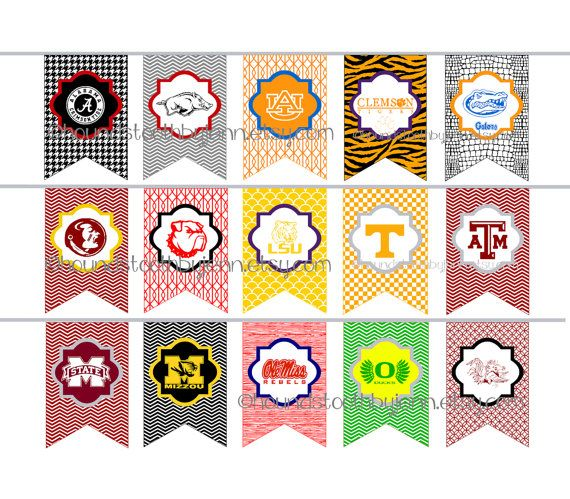 DIY PRINTABLES College Football Tailgate Party Pennants Banners Digital Downloads