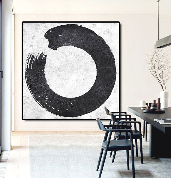 Minimal black and white painting mn15a large canvas art for Diy canvas art black and white