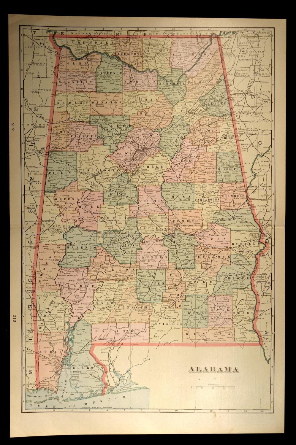 Antique Map Alabama Large State Early 1900s Original 1901 | Map Wall ...