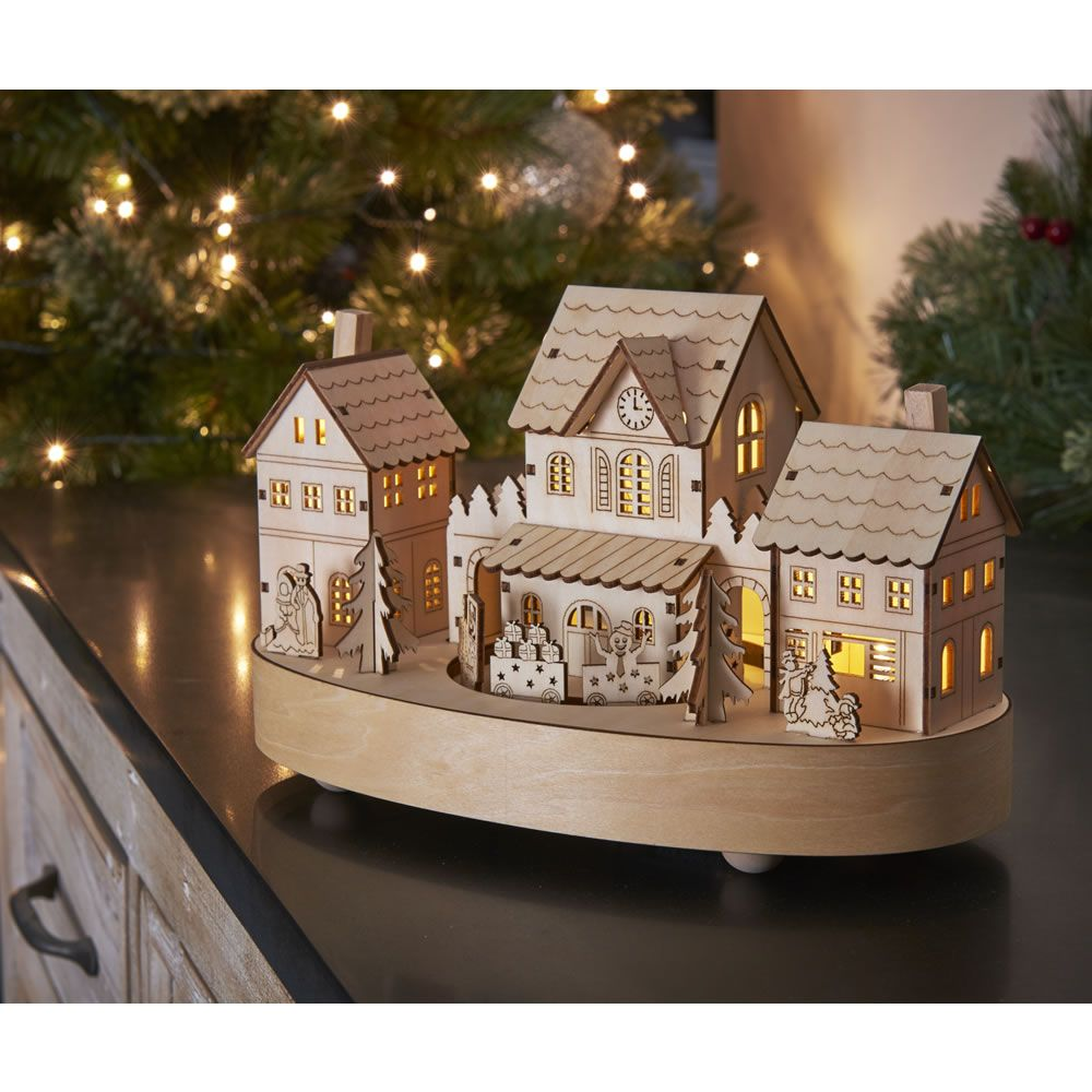 Wilko nordic country christmas musical wooden village battery wilko nordic country christmas musical wooden village battery operated aloadofball Image collections