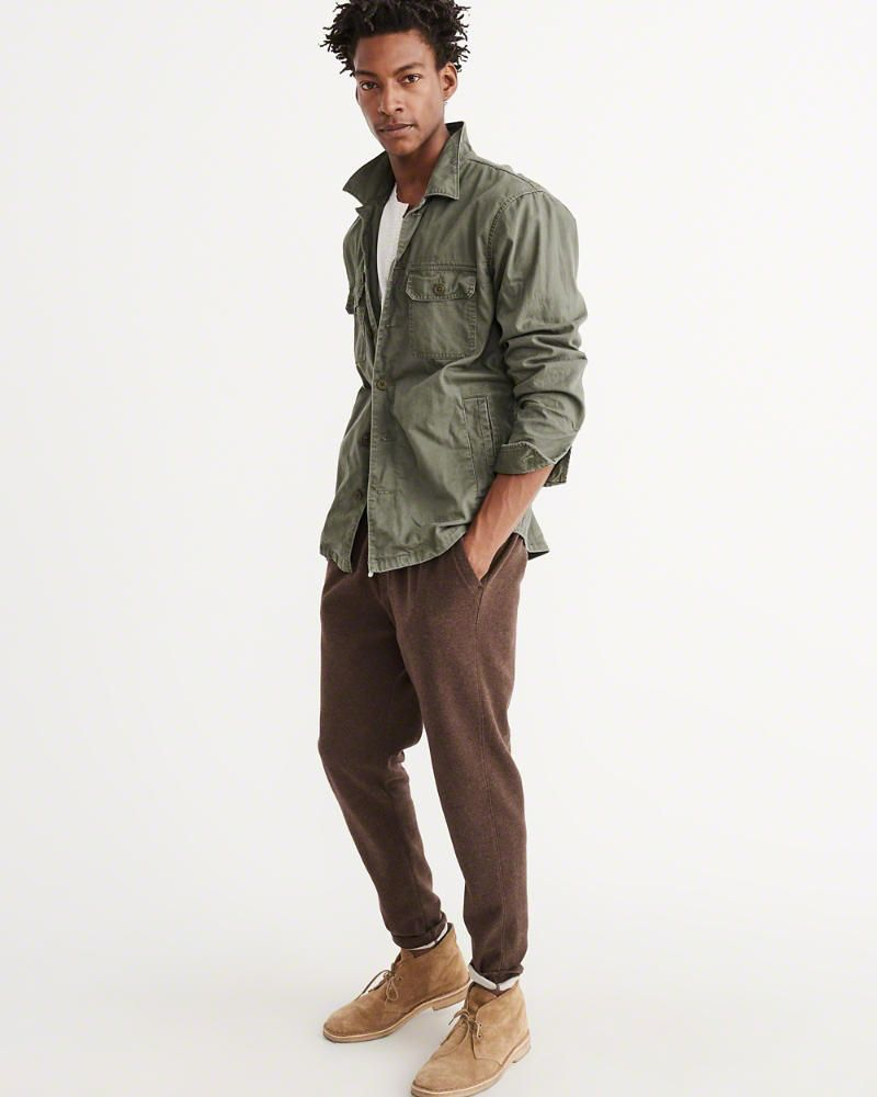 7d22fecd59c4c A&F Men's Military Shirt Jacket in Olive Green - Size XL | Products ...