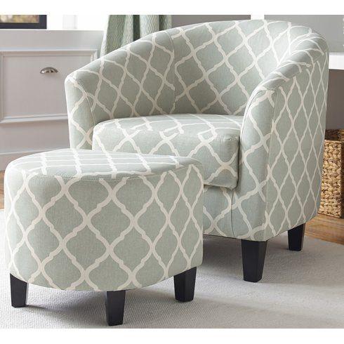 2 Piece Hannah Arm Chair Ottoman Set Upholstered Accent Chairs Fabric Accent Chair Chair And Ottoman Set