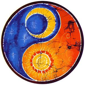 Day Night Yin Yang Malerei Sonne Mond Sonne