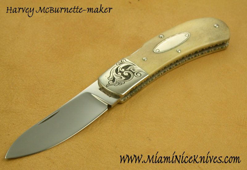 Knife Model Gallery (AVAILABLE)/Harvey McBurnette-front lock back folder sole author - Miami Nice Knives Gallery