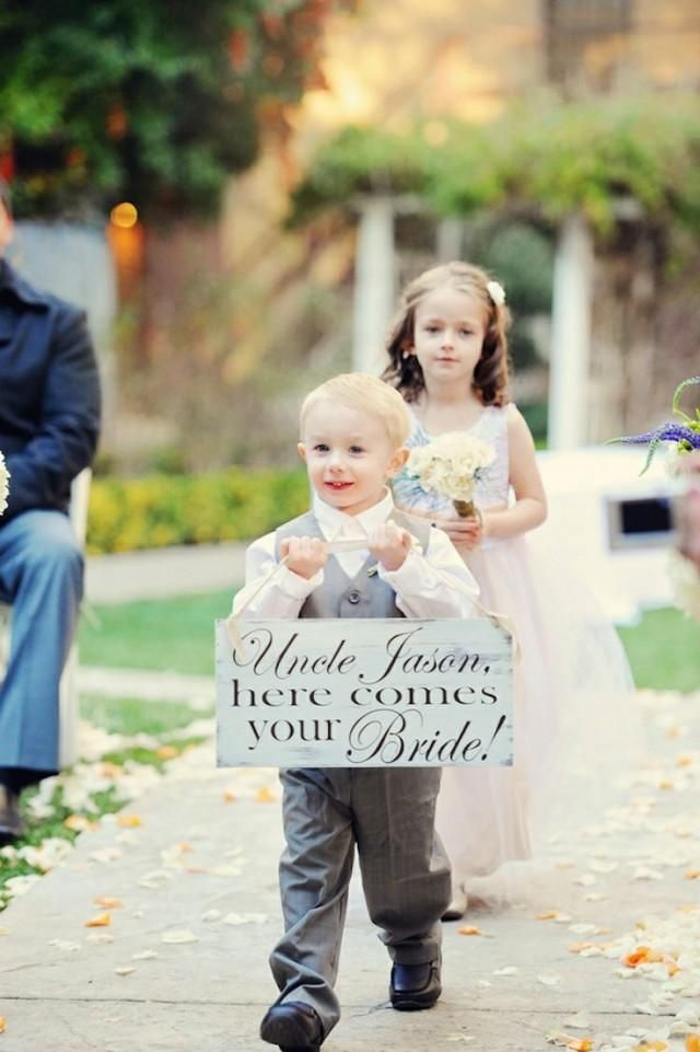 Ring Bearer And Flower Girl With Sign