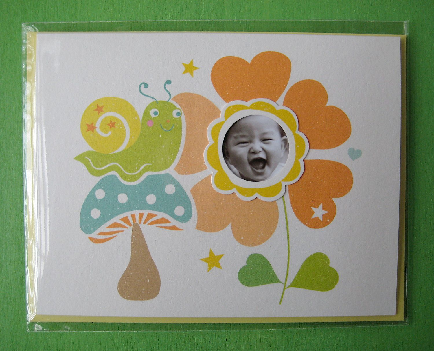 "4.25""X5.5""  Happy to see you Snail Card w/ 1"" Circle Photo Window. $5.00, via Etsy.  #methodholidayhappy"