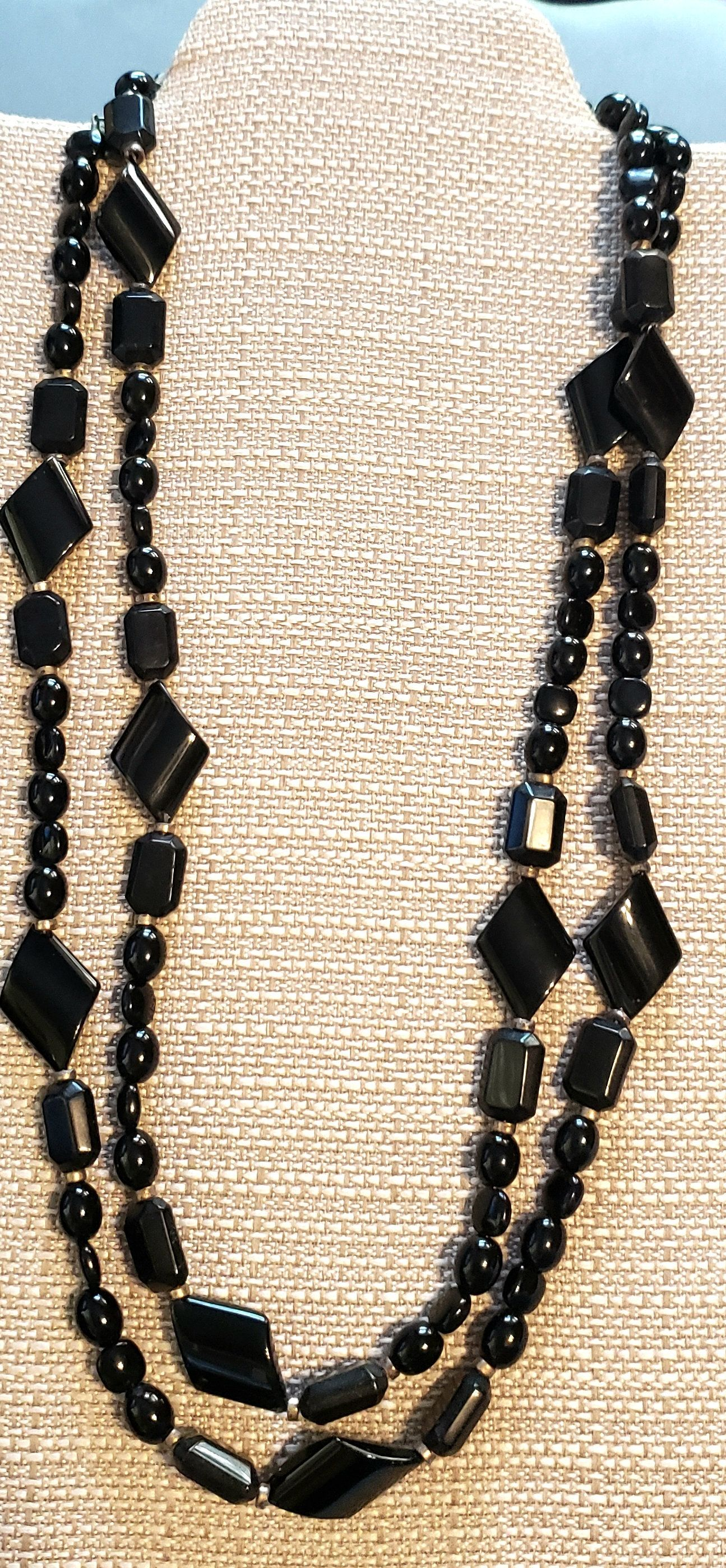 Black onyx and gold accent beaded necklace 29 long