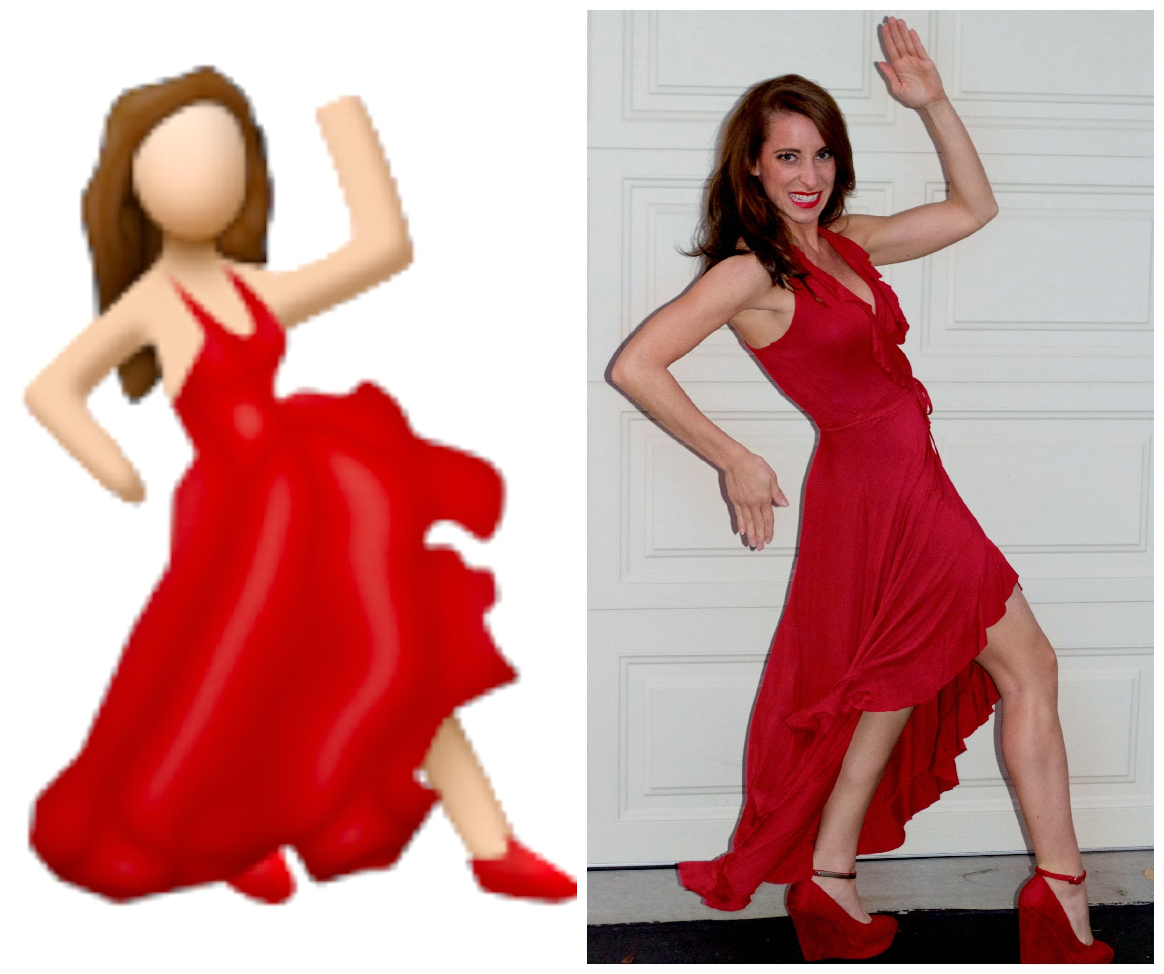 Holla Ween Red Dress Costume Emoji Costume Red Costume