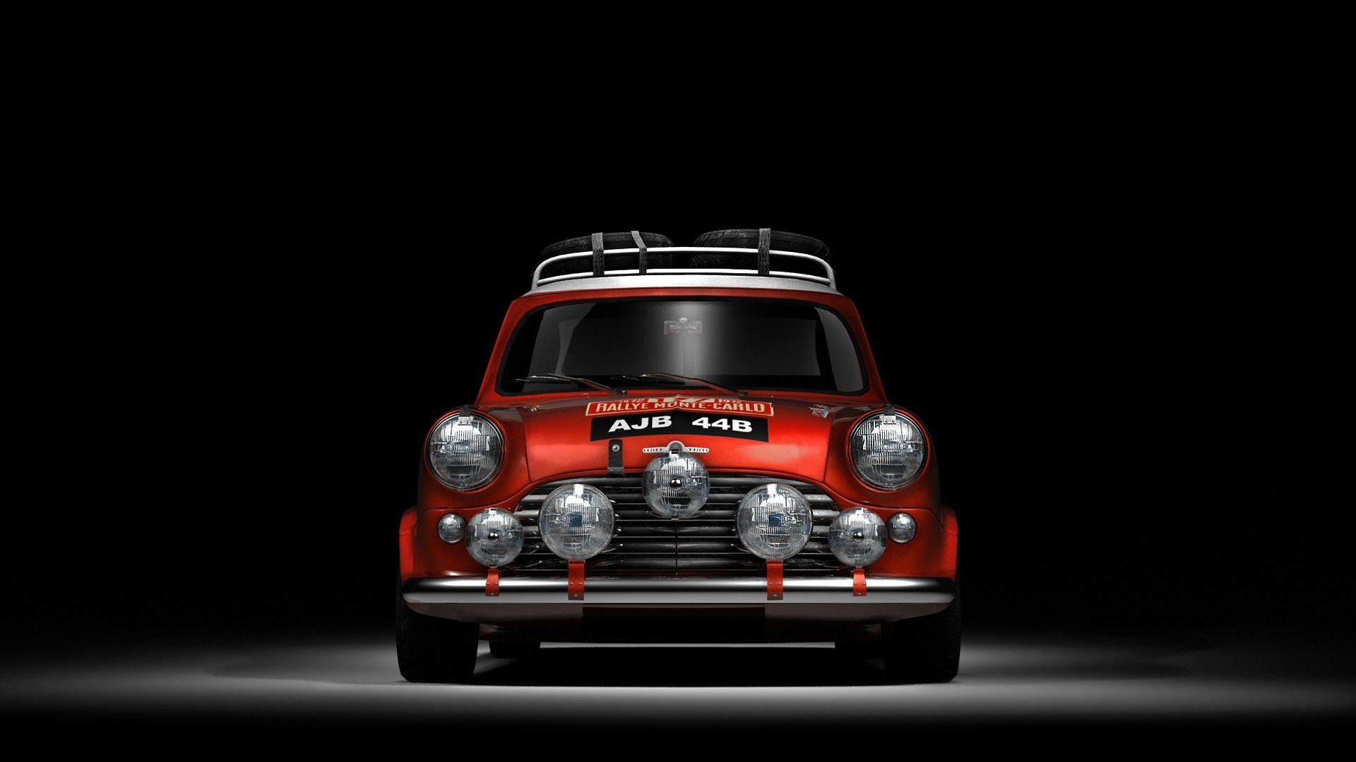 Red Mini Cooper in a dark space. Cars Wallpapers. download